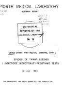 Bio medical Reports of the 406th Medical Laboratory Book