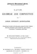 Pdf Latin Grammar and Composition for London University Matriculation