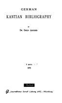German Kantian Bibliography