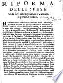 Riforma delle spese solite farsi in tempo di Sede Vacante, e per il Conclave. (29 Novembre 1690.).