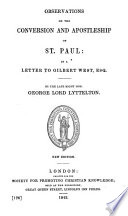 Observations on the Conversion and Apostelship of St  Paul  in a Letter