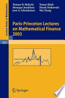Paris Princeton Lectures on Mathematical Finance 2003 Book
