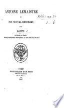 """Antoine Lemaistre et son nouvel historien. [A review of """"Antoine Lemaistre, étude sur l'éloquence judiciaire au XVII. siècle par M. O. de Vallée.""""] Pdf/ePub eBook"""