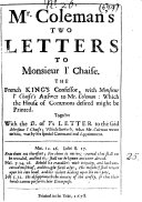 Pdf Mr. Coleman's Two Letters to Monsieur L'Chaise ...