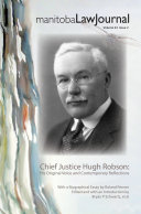 Manitoba Law Journal Volume 42:2 -- Special Issue on Chief Justice Robson (2019) Pdf/ePub eBook