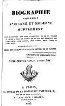 Biographie universelle, ancienne et moderne; ou, Histoire, par ordre alphabétique