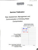 Risk Assessment Management And Communication Of Drinking Water Contamination Book PDF