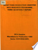 Short Term Production Oriented Rice Reseach Programme Third Quarterly Report