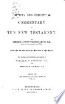 Critical and Exegetical Handbook to the Epistle to the Romans