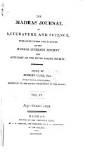 Madras Journal of Literature and Science