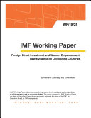 Foreign Direct Investment and Women Empowerment: New Evidence on Developing Countries Pdf/ePub eBook