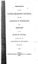 Constitution of the Massachusetts Society for the Suppression of Intemperance
