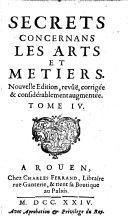 Secrets Concernans Les Arts Et Metiers