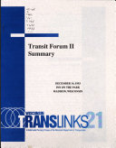 Transit Forum II Summary, December 14, 1993, Inn on the Park, Madison, Wisconsin