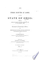 The Public Statutes at Large  of the State of Ohio Book