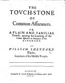 Pdf The Touchstone of Common Assurances: or, a plain and familiar treatise, opening the learning of the common assurances or conveyances of the kingdome. By W. Sheppard or Sir J. Doddridge?