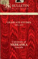 University of Nebraska-Lincoln, Catalog: GRADUATE.