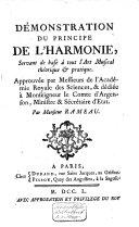 Démonstration du principe de l'harmonie, servant de base à tout l'art musical thèorique et pratique