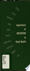 Importance of Nutrition to Good Health