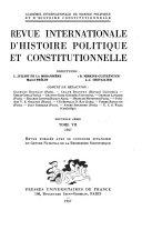 Revue d'histoire politique et constitutionnelle