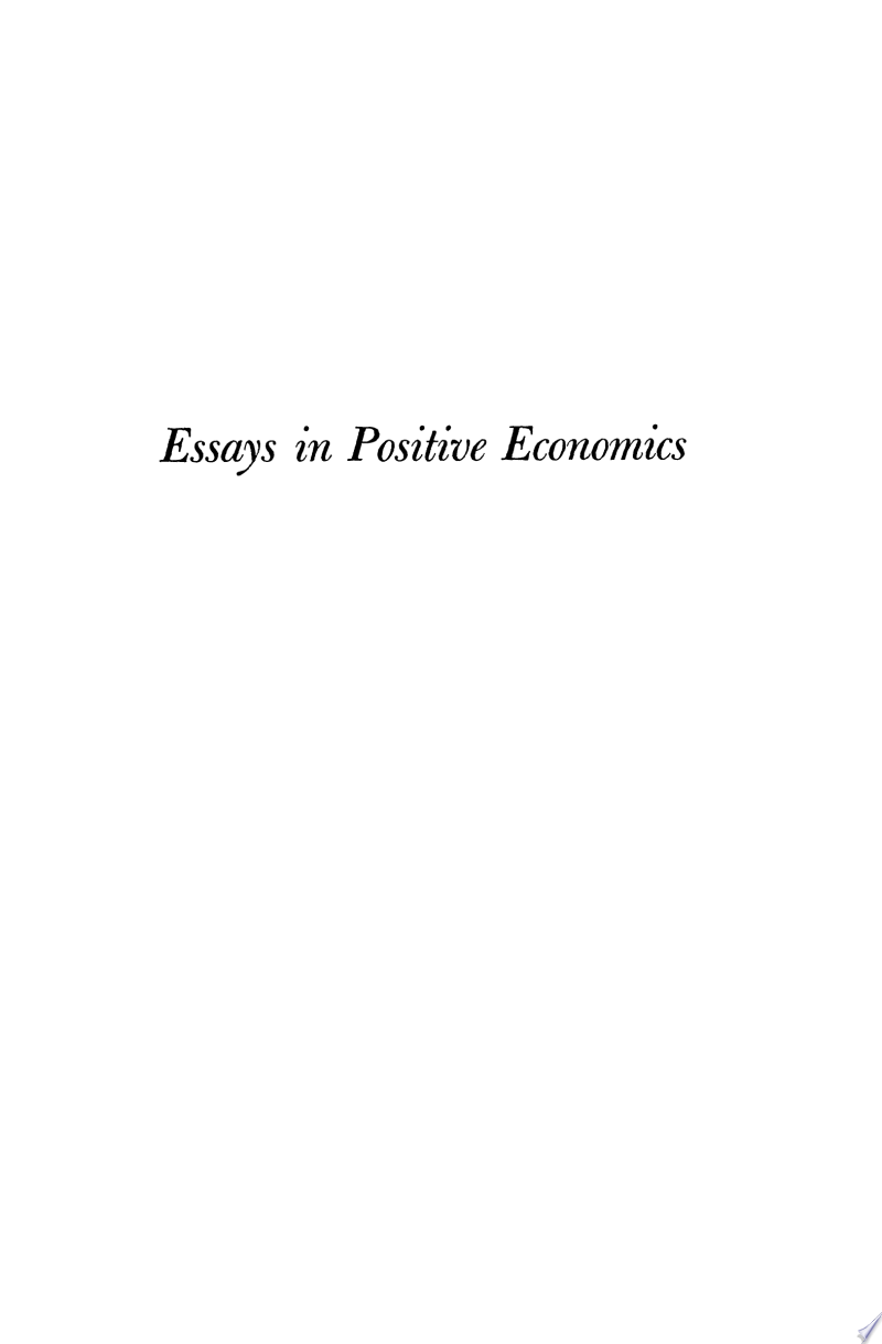 Essays in Positive Economics banner backdrop