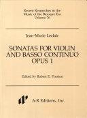 Sonatas for Violin and Basso continuo, Opus 1