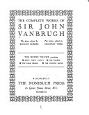 The Complete Works of Sir John Vanbrugh Book