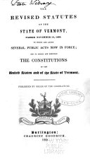 The Revised Statutes of the State of Vermont, Passed November 19, 1839