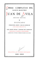 Obras Completas Del Santo Maestro Juan de Avila  Epistolario