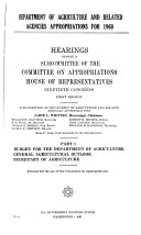 Department Of Agriculture And Related Agencies Appropriations For 1968