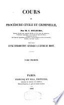 Cours de procédure civile et criminelle