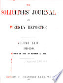 The Solicitors' Journal and Weekly Reporter