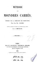 Méthode des moindres carrés, tr. par J. Bertrand