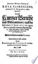 Rosa Florescens, contra F. G. Menapii calumnias
