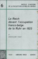 Le Reich Devant I'Occupation Franco-Belge de la Ruhr en 1923