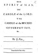 The Spirit of Man  the Candle of the Lord