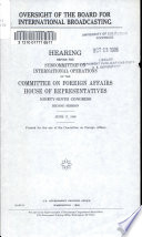 Oversight of the Board for International Broadcasting Book