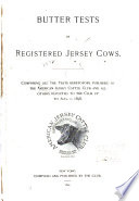 Butter Tests of Registered Jersey Cows