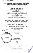 H R  4684  National Nutrition Monitoring and Related Research Act of 1984 Book