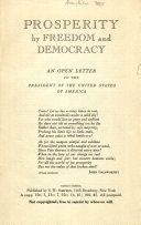 Prosperity by Freedom and Democracy