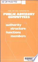 Food And Drug Administration Public Advisory Committees