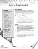Writing Lesson Level 3 Writing Traits Checklist