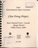 Boise National Forest  N F    Clear Prong Project