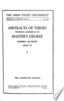 Abstracts of Master's Theses