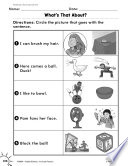 Reading Informational Text Matching Words To Pictures Practice