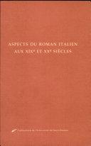 Aspects du roman italien aux XIXe et XXe siècles