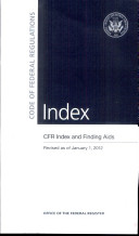 Code Of Federal Regulations Cfr Index And Finding Aids Revised As Of January 1 2012