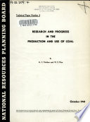 Research and Progress in the Production and Use of Coal