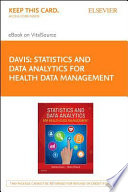 Statistics   Data Analytics for Health Data Management