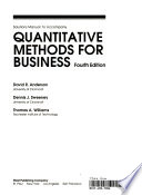 Solutions manual to accompany quantitative methods for business